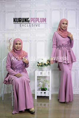 Baju Kurung Peplum Exclusive Raya 2017 warna purple
