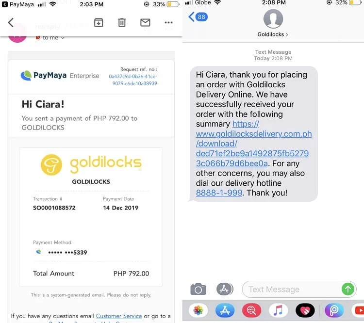 PayMaya Goldilocks Transaction Details Online and SMS