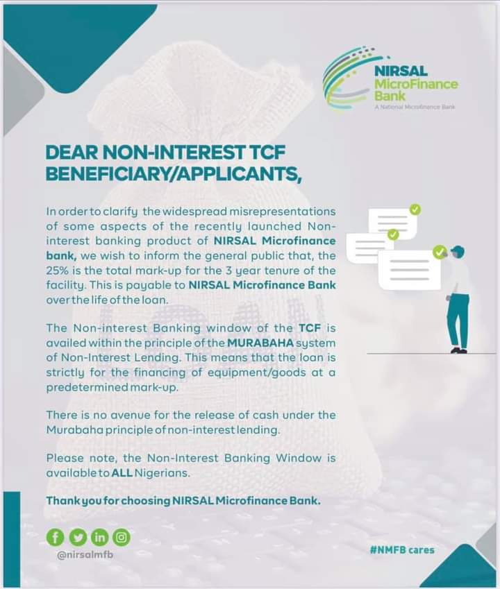 Important Notice To NIB Applicants: 25% is the total mark-up for the 3 year tenure of the facility - NIRSAL Microfinance Bank
