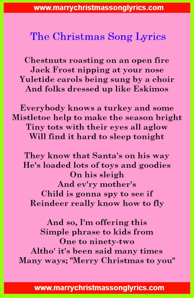 The Christmas Song Lyrics Image Printable