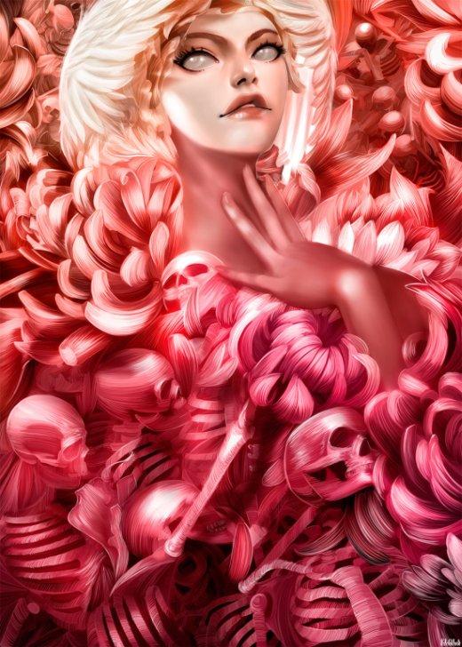 Alfonso Elola deviantart ilustrações mulheres surreais fantasia corpos orgânicos anatomia