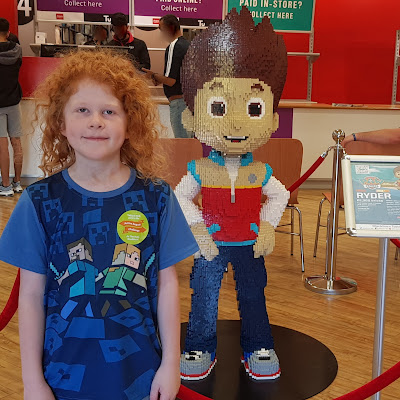 Blackburn Argos LEGO trail model of Ryder from Paw Patrol in store with my 9 year old