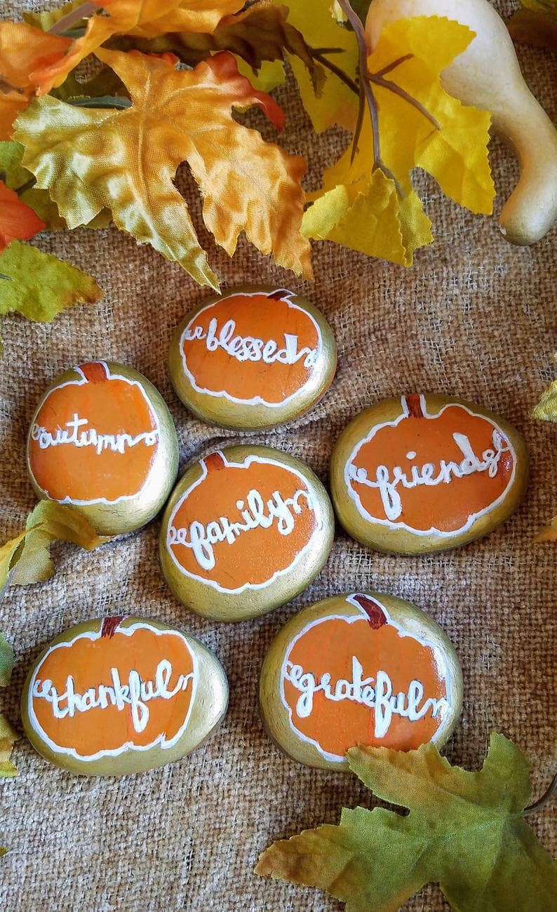 Premade Thanksgiving day themed rocks on Etsy