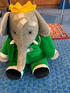Babar the elephant stuffed toy with bandages