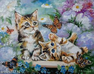 Игра-котят-с-бабочками-картина