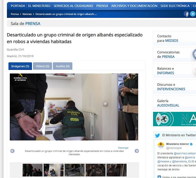 Albanian criminal band of house theft destroyed in Spain