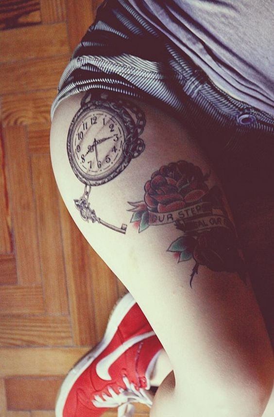 Sexy Thigh Clock Tattoo For Girls