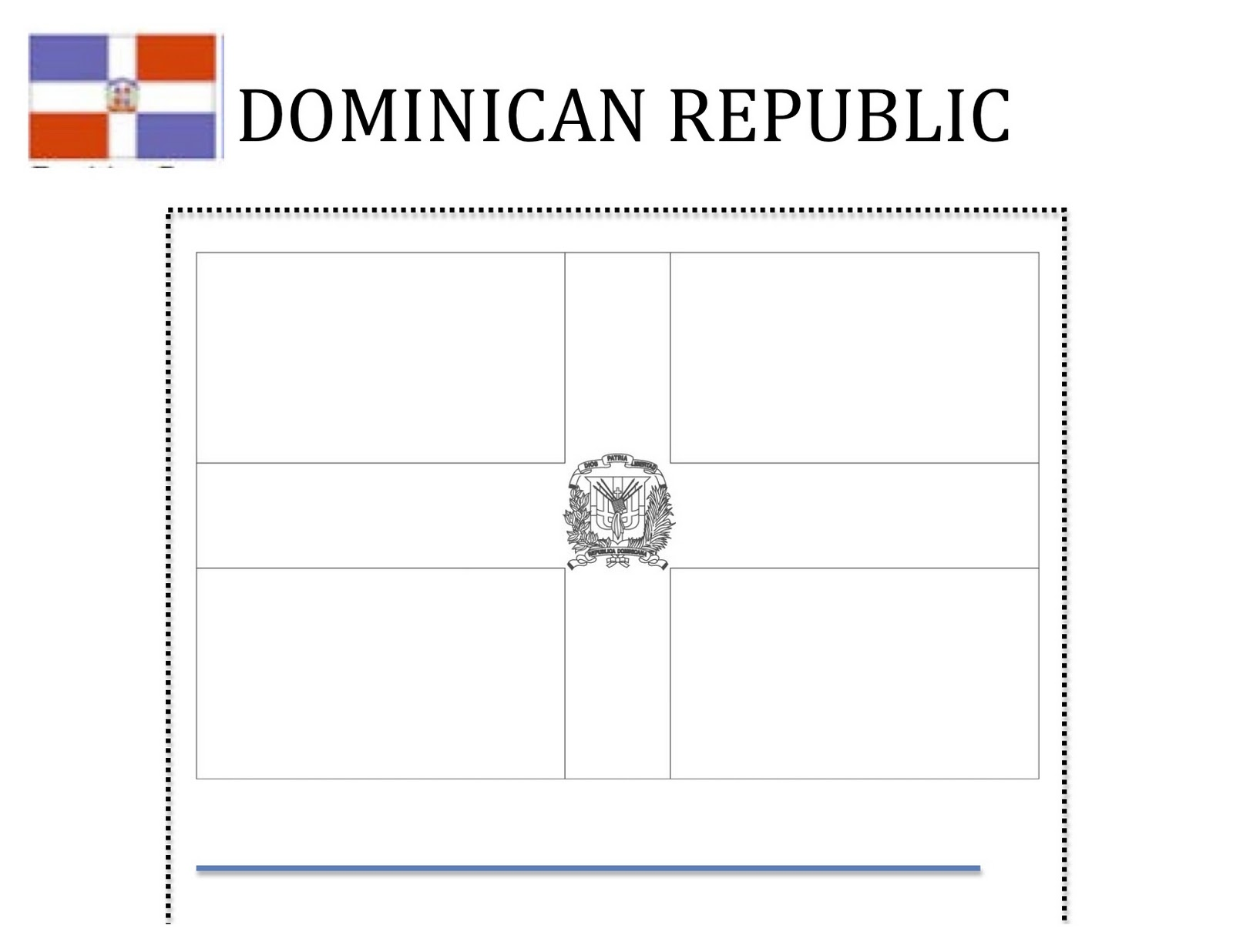 Dominican republic flag free coloring pages for National hispanic heritage month coloring pages