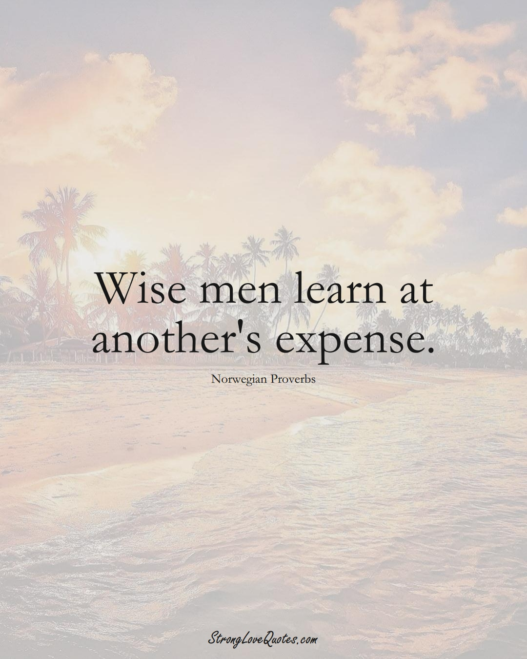 Wise men learn at another's expense. (Norwegian Sayings);  #EuropeanSayings