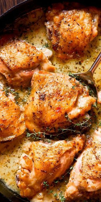 Herb Roasted Chicken Thighs in Creamy White Wine Sauce
