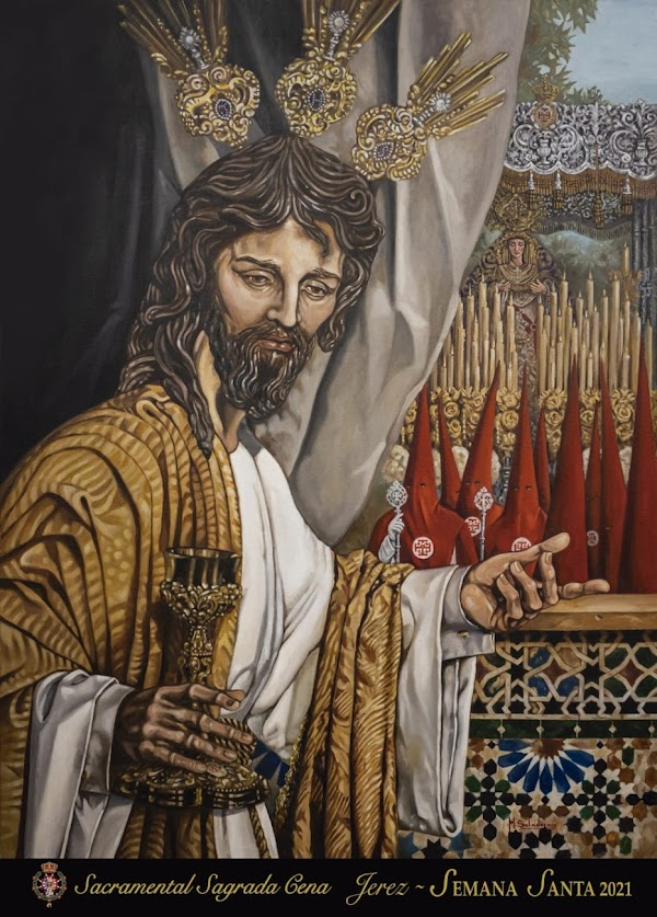 Manuel Salado firma el cartel de Semana Santa de la Hermandad de la Sagrada Cena de Jerez de la Frontera