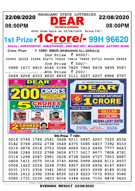 Nagaland State Lottery Sambad 22-08-2020 Today Result 8 PM