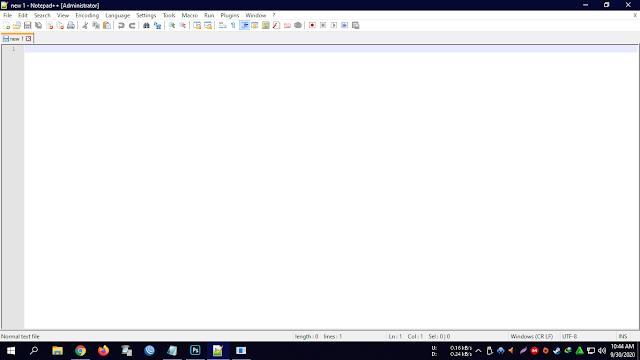 Tampilan Aplikasi Notepad++ pada Windows