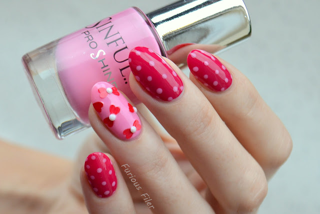 cute dots pink valentine's nails nailbox hearts bows