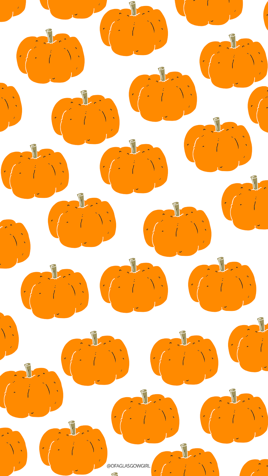 Halloween phone wallpaper or instagram template with a repeated pattern of orange pumpkins on it.