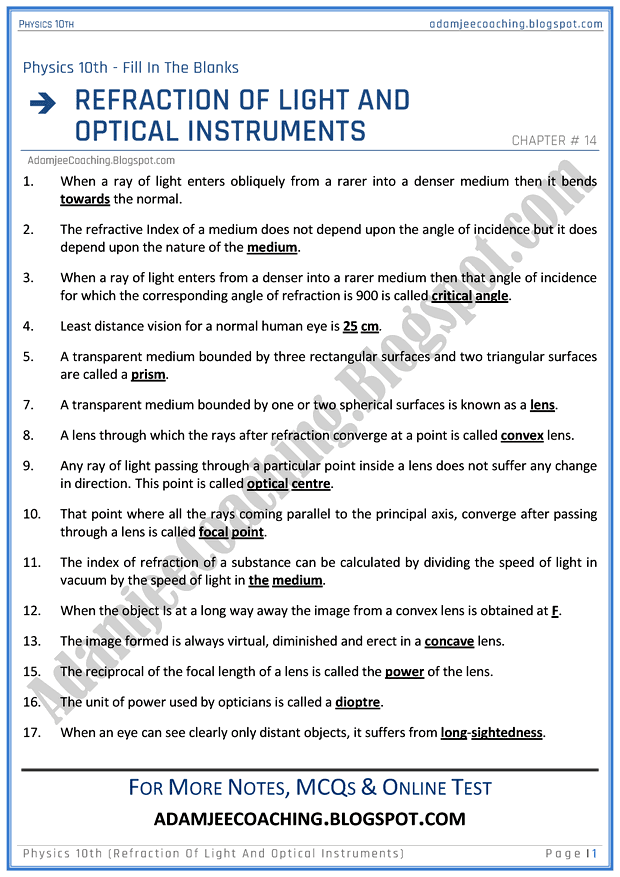 refraction-of-light-and-optical-instruments-fill-in-the-blanks-physics-10th