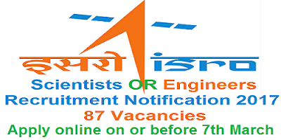 ISRO Scientist/Engineer Recruitment Notification 2017