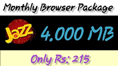 Jazz Monthly low Price internet Package only Rs.215