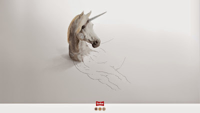 Perspectiva anamorfica y publicidad impresa creatividad - advertising and creative drawings - Unicornio