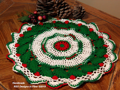 Holly Leaves and Berries Crochet Round - 17 Inch Table Topper or Wall Art - By Ruth Sandra Sperling at RSS Designs In Fiber