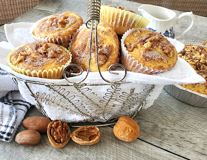 this is a basket of sour cream coffee cake cupcakes made with a doctored cake mix