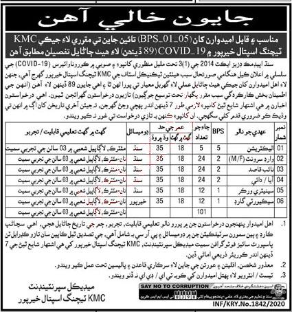 KMC Teaching Hospital Khairpur, Sindh Jobs 2020 publish in Kawish Newspaper on 25 July 2020.
