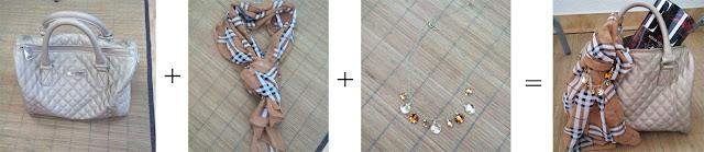 Consultoria de imagem - My style - mala personalizada - mala bege+lenço castanho + colar dourado