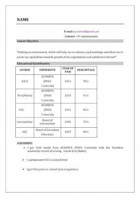 Resume Format for Teachers 1