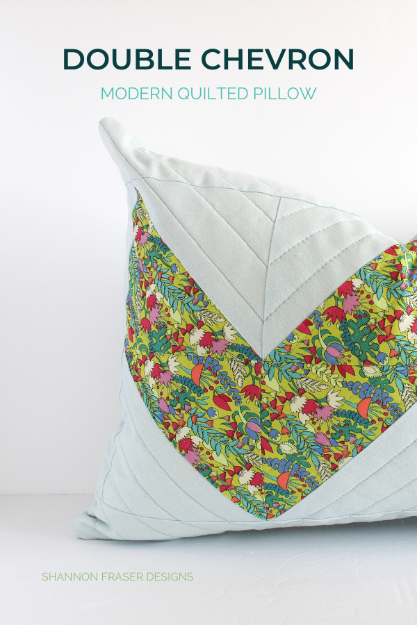 Double Chevron quilted lumbar pillow featuring Fantasy | Shannon Fraser Designs #quiltedpillow #modernquilting #homedecor