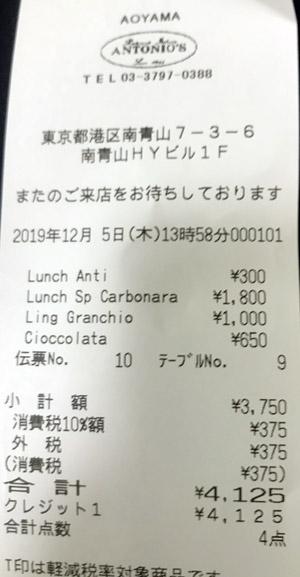 アントニオ 南青山本店 2019/12/5 飲食 ANTONIO'Sのレシート