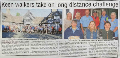 Two photographs and a write up about the walk from the newspaper