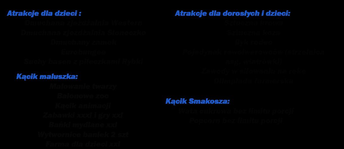 Atrakcje dla dzieci   Dmuchana zjeżdżalnia Tygrys lub Jungle Dmuchana zjeżdżalnia Słoneczko  Dmuchany plac zabaw Żółwik   Suchy basen z piłeczkami  Eurobungee  Atrakcje dla dorosłych i dzieci Ekologiczny tor przeszkód  Gigantyczne piłkarzyki Sztuczna krowa Sztuczna koza  Turniej w darta na 3 tarczach  Kącik maluszka Malowanie twarzy  Balonowe zoo  Kącik animacji  Zabawki xxxl i gry xxl Bańki mydlane xxl Wytwornice baniek 2 szt  Żywe maskotki    Kącik Smakosza Wata cukrowa bez limitu porcji Popcorn bez limitu porcji  Wyposażenie techniczne  Nagłośnienie Namioty o powierzchni 200 m2 Ławostoły od 20 do 150 kompletów  Mini scena 8 m2 Dane techniczne Pobór mocy 8 kw  Powierzchnia ok 450 m2  Obsługa 10 osób w strojach nawiązujących do motywu  Czas zabawy 7 godzin  Czas rozkładania 4 godzin Czas składania 3 godziny  Atrakcje dodatkowe Dmuchany byk rodeo Bungee-run  Zorbing