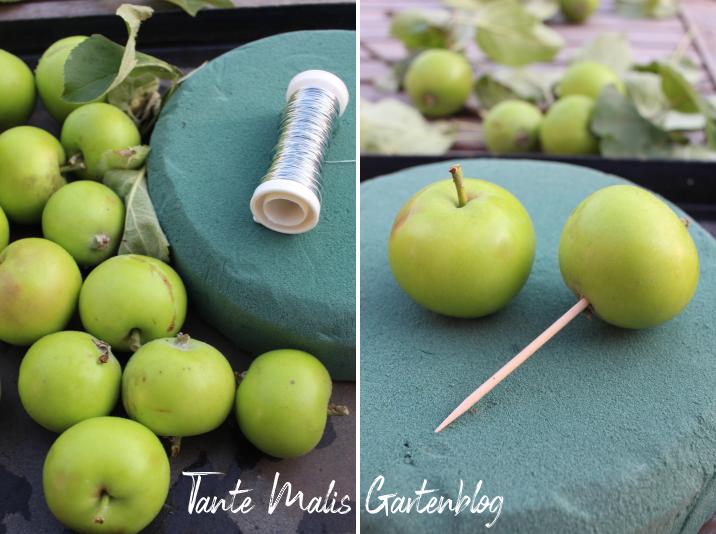 Anleitung für eine Sommerdeko mit Äpfeln