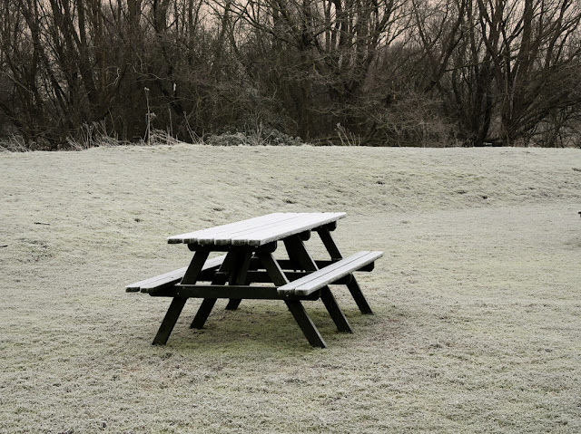 Frosted picnic bench