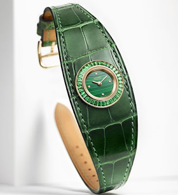 Hermès Faubourg Manchette Joaillerie watch green leather strap