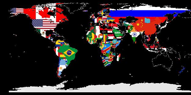 Mapa múndi com os países estampados pelas próprias bandeiras