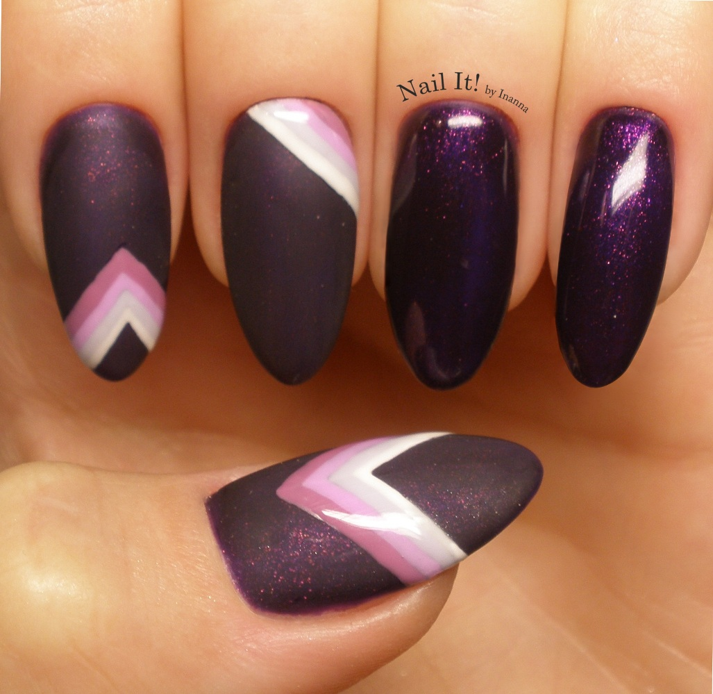 "Geometric Stripes Nail Art (Indigo Nails ""Miss Carrington"", ""Stalker"", ""Influencer"", Whatever"" gel polishes)"