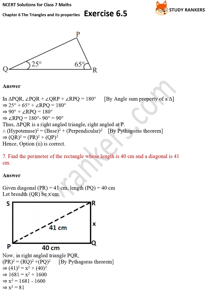 NCERT Solutions for Class 7 Maths Ch 6 The Triangles and its properties Exercise 6.5 5