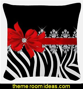 Zebra red Woven Throw Pillow