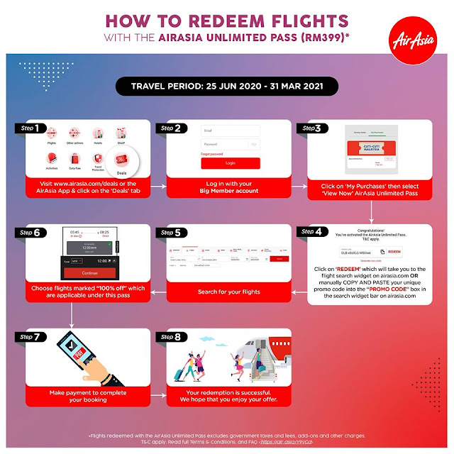 cara daftar AirAsia Unlimited Pass Cuti-Cuti Malaysia