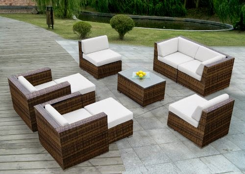 Outdoor Patio Sofa Wicker Sectional Furniture Couch Set
