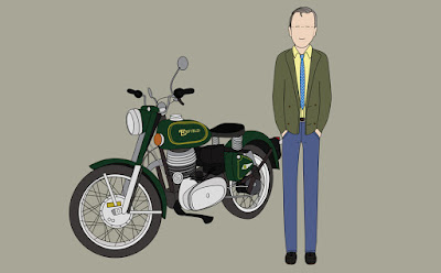 Cartoon of man next to motorcycle.