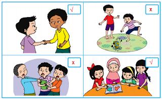 gambar yang menunjukkan perilaku menghormati dan tidak menghormati teman halaman 148 www.simplenews.me