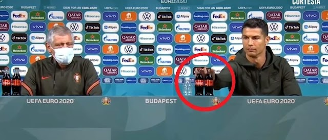 Coca Cola loses billions of market value due to Cristiano Ronaldo who snubs and criticizes soft drinks at the press conference at Euro 2020