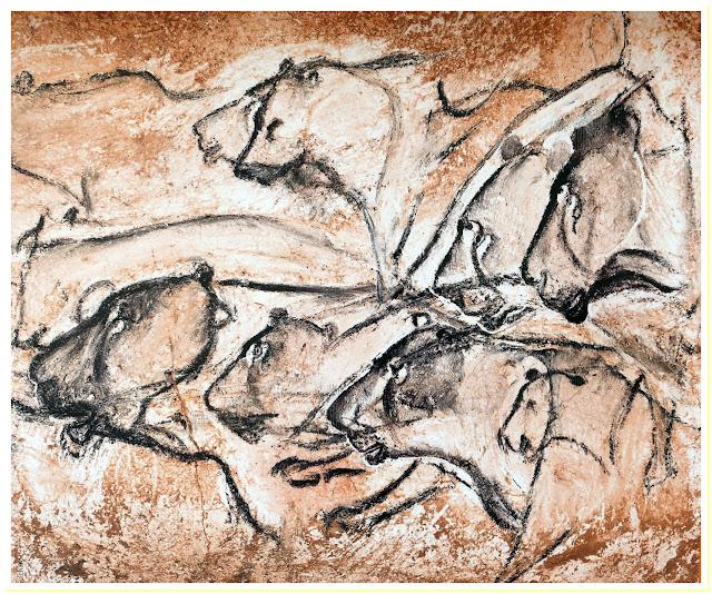 """I grandi felini di Chauvet tratto da un pannello espicativo del parco """"Caverne du Pont d'Arc - Foto Nando Musmarra storia dell'arte rupestre preistoria paleolitico"""