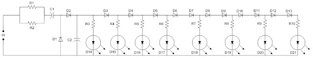 Skema Rangkaian VU Meter LED Sederhana