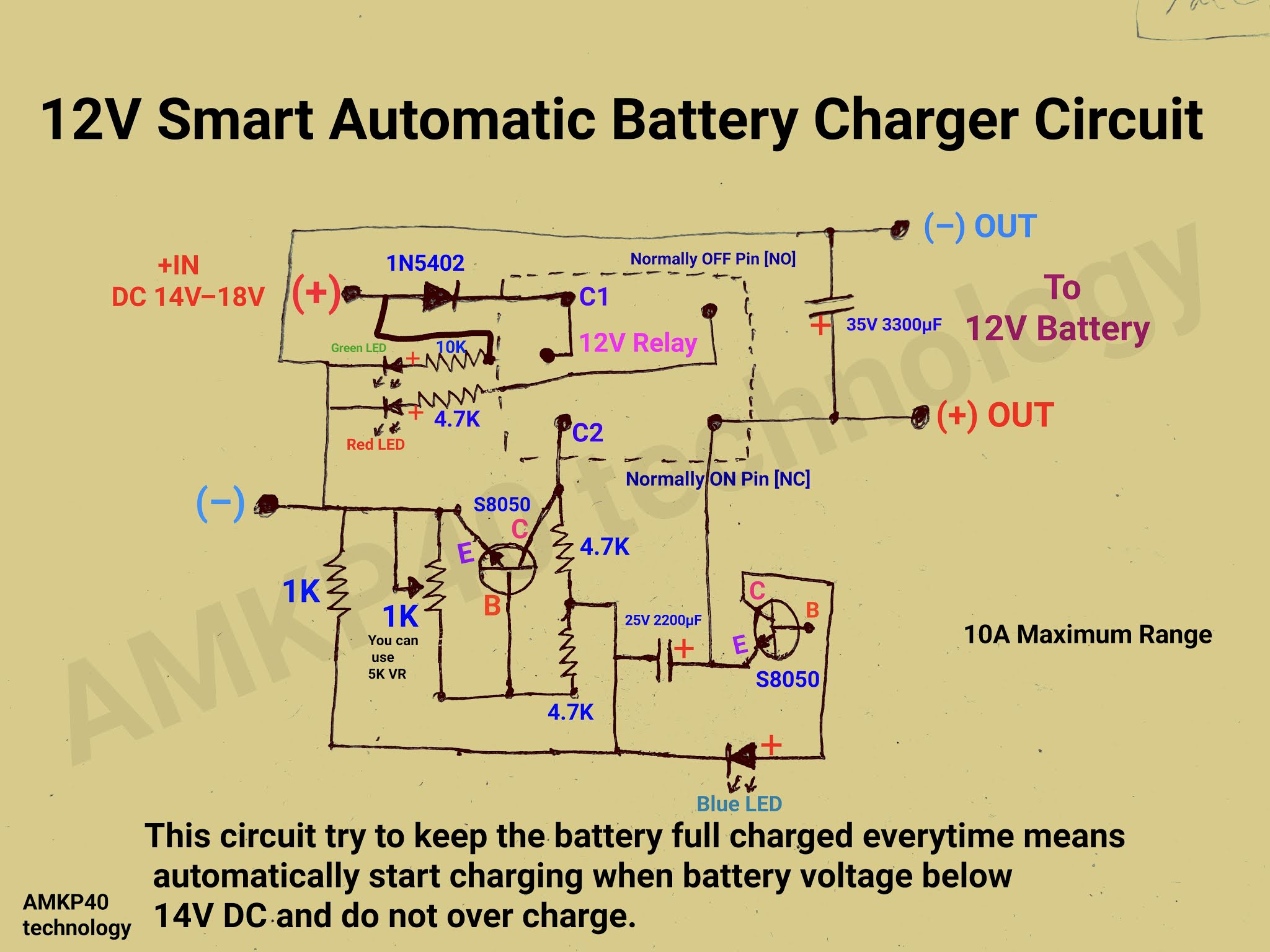 How To Make 12v Smart Automatic Battery Charger Circuit With Auto Start Charging Function