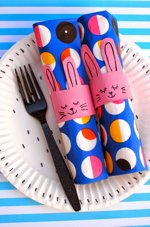 Easter toilet roll napkin bunny ring for kids