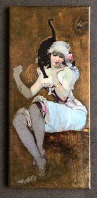 Vintage magnet with painting of the woman & the black cat