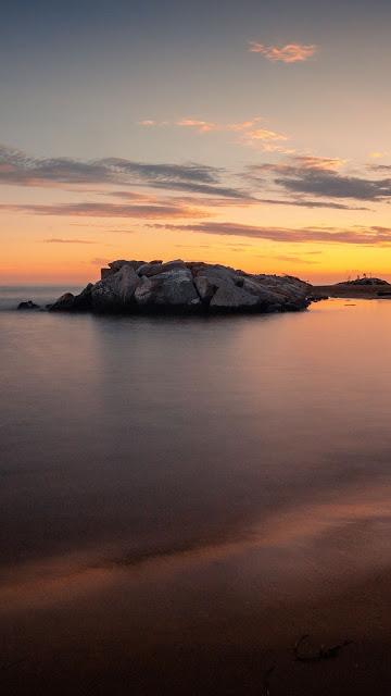 Screen background, Beach, Sea, Island, Sunset, Clouds